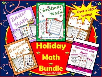 Holiday Math Bundle for Middle School