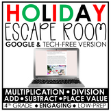 Distance Learning | Holiday Math Escape Room | 4th Grade