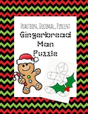 Holiday / Christmas: Fraction, Decimal, Percent  Matching Sides Puzzle Activity