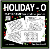 Holiday Math Game for Middle Grades (HOLIDAY-O)
