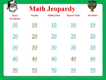 Holiday Math Jeopardy