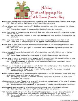 Christmas Holiday Multiplication, Division, Synonym, Antonym Match Game