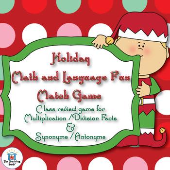 Christmas Holiday Math and Language Match Game