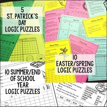 Math Logic Puzzles for the Entire Year Bundle