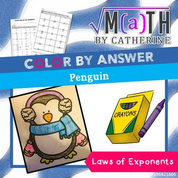 Holiday Math: Penguin Color by Answer Laws of Exponents