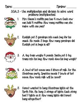 Holiday Math Review Third Grade