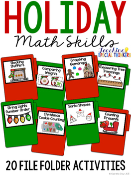 Holiday Math Skills File Folder Tasks (20 Tasks Included)