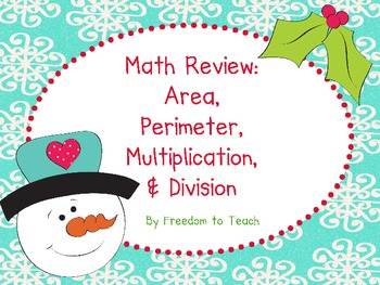 Holiday! *Math Task Cards* Area, Perimeter, Multiplication, Division*BINGO {CC}