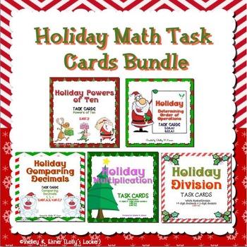 Christmas Holiday Math Task Cards Bundle