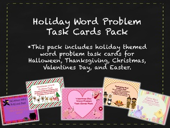 Holiday Math Word Problem Solving Task Cards Pack