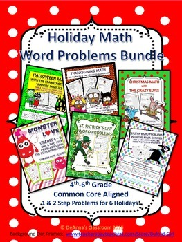 Holiday Math Word Problems Bundle: 4th-6th Grade Common Co