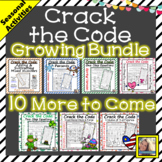 Holiday Math Worksheets Crack the Code Growing Bundle