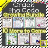 Holiday Math Worksheets Crack the Code Growing Bundle