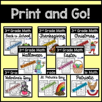 Holiday Math Worksheets for the Whole Year 3rd Grade Common Core Bundle