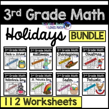 Holiday Math Worksheets for the Whole Year 3rd Grade Commo