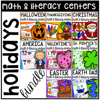 Holidays Math and Literacy Centers for Preschool, Pre-K, &