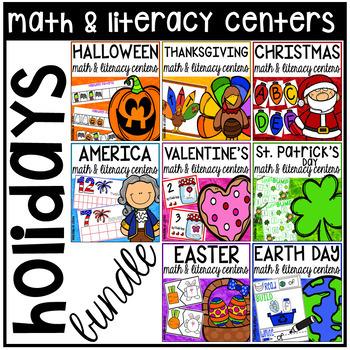 Holidays Math and Literacy Centers BUNDLE for Preschool, Pre-K, & Kindergarten