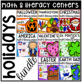 Holidays Math and Literacy Centers BUNDLE for Preschool, Pre-K, & Kindergarten