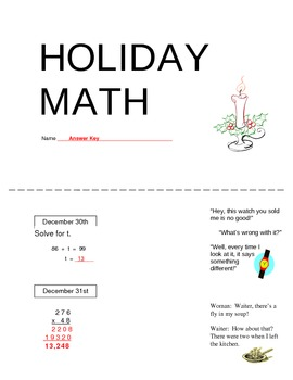 Holiday Math booklets - one-a-day math problems for winter break