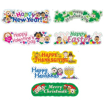 Holiday Mini Bulletin Board Set - Stick Kids Theme