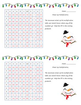 Holiday Mixed Up Multiplication
