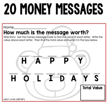 Christmas Money Messages | Christmas Activities