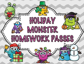 Holiday Monster Homework Passes