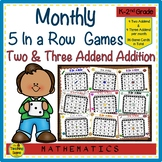 Year Long 5 In A Row Monthly 2 & 3 Addend Addtion Math Facts Games