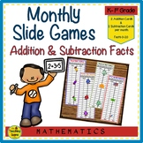 Year Long Monthly Addition & Subtraction Facts 0-20 Slide Games