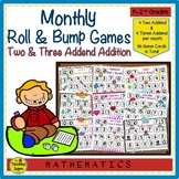 Year Long Monthly Roll & Bump Two & Three Addend Addition Games