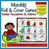 Year Long Monthly Roll & Cover Number Recognition & Addition Math Games