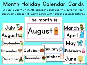 Holiday Months Calendar Cards