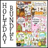 Holiday Movement Cards BUNDLE-Halloween, Thanksgiving, Chr