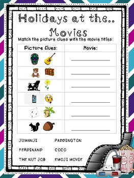 Holiday Movies Back to School Activity