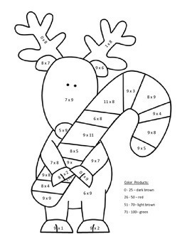 Holiday Multiplication Color by Number: Elf Reindeer Christmas Tree Penguin more