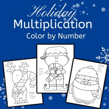 Holiday Multiplication Color by Number: Elf Reindeer Chris