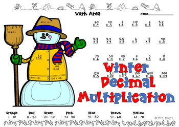 Holiday Multiplication Decimals Division Color by Number
