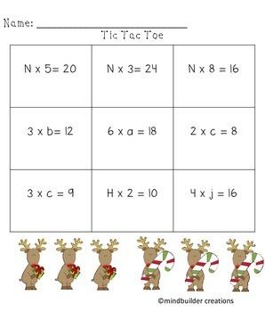 Holiday Multiplication Missing Factors Tic Tac Toe