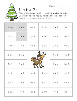 Holiday Multiplication Worksheets