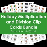 Holiday Multiplication and Division Clip Cards Bundle