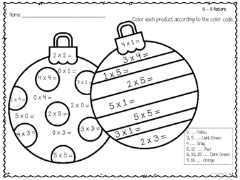 Holiday Multiplication and Division Color by Number