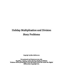 Holiday Multiplication and Division Story Problems