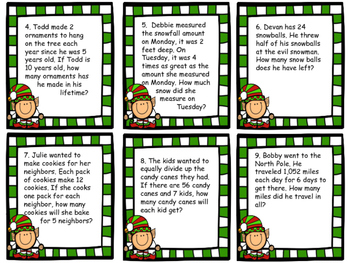 Holiday Multiplication and Division Word Problem Task Cards *50% off*
