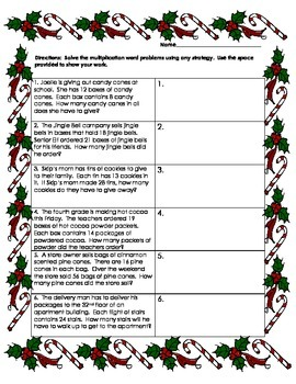 Holiday Multiplication word problems
