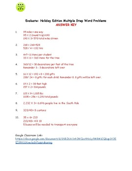 Holiday Multistep Word Problems - Choose the Operation