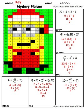 Holiday Mystery Picture - Order of Operations - TEK 6.7A
