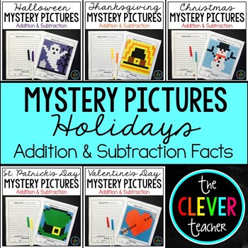 Mystery Pictures Holidays BUNDLE (Addition & Subtraction)