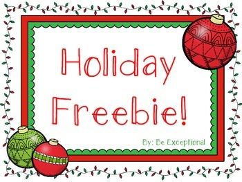 Holiday NO PREP Freebie