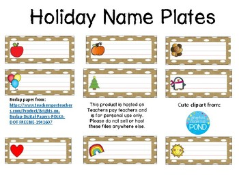 Holiday Name Plates