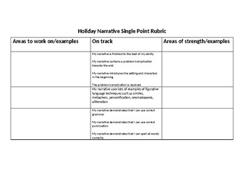 Holiday Narrative Single Point Rubric